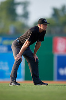 Umpire Mitch Trzeciak during a NY-Penn League game between the Lowell Spinners and Batavia Muckdogs on July 10, 2019 at Dwyer Stadium in Batavia, New York.  Batavia defeated Lowell 8-6.  (Mike Janes/Four Seam Images)