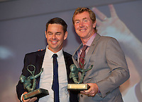 France, Paris, 03.06.2014. Tennis, French Open, Roland Garros, ITF Champions diner, Todd Woodbridge and Mark Woodforde (R) recieve the Philippe Chatrier Award <br /> Photo:Tennisimages/Henk Koster
