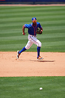 St. Lucie Mets shortstop Amed Rosario (1) fields a ground ball during a game against the Brevard County Manatees on April 17, 2016 at Tradition Field in Port St. Lucie, Florida.  Brevard County defeated St. Lucie 13-0.  (Mike Janes/Four Seam Images)