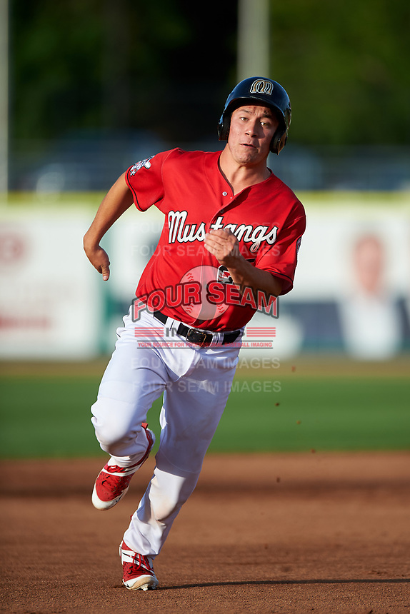 Billings Mustangs Eric Yang (25) runs to third base during a Pioneer League game against the Grand Junction Rockies at Dehler Park on August 15, 2019 in Billings, Montana. Billings defeated Grand Junction 11-2. (Zachary Lucy/Four Seam Images)