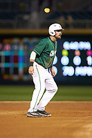 Drew Ober (18) of the Charlotte 49ers takes his lead off of second base against the Georgia Bulldogs at BB&T Ballpark on March 8, 2016 in Charlotte, North Carolina. The 49ers defeated the Bulldogs 15-4. (Brian Westerholt/Four Seam Images)