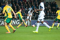 Thursday 24 October 2013  <br /> Pictured: Alejandro Pozuelo strikes the ball past the  Kuban Krasnodar defence<br /> Re:UEFA Europa League, Swansea City FC vs Kuban Krasnodar,  at the Liberty Staduim Swansea