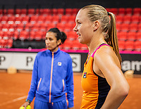 The Hague, The Netherlands, Februari 4, 2020,  Sportcampus , FedCup  Netherlands - Balarus, Dutch team practise, Kiki Bertens with her coach Elise Tamaela (NED)<br /> Photo: Tennisimages/Henk Koster