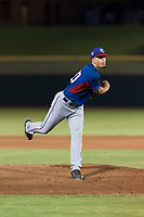 AZL Rangers starting pitcher Yerry Rodriguez (80) follows through on his delivery during an Arizona League game against the AZL Giants Black at Scottsdale Stadium on August 4, 2018 in Scottsdale, Arizona. The AZL Giants Black defeated the AZL Rangers by a score of 6-3 in the second game of a doubleheader. (Zachary Lucy/Four Seam Images)