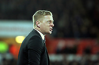 Pictured: An angry Swansea manager Garry Monk is protesting to the fourth official Saturday 10 January 2015<br /> Re: Barclays Premier League, Swansea City FC v West Ham United at the Liberty Stadium, south Wales, UK