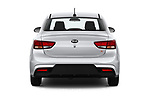 Straight rear view of a 2019 KIA Rio S 4 Door Sedan stock images