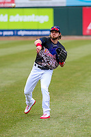 Cedar Rapids Kernels outfielder Shane Carrier (44) warms up prior to a Midwest League game against the Kane County Cougars on April 21, 2018 at Perfect Game Field at Veterans Memorial Stadium in Cedar Rapids, Iowa. Kane County defeated Cedar Rapids 9-2. (Brad Krause/Four Seam Images)
