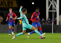 27th September 2021;  Selhurst Park, Crystal Palace, London, England; Premier League football, Crystal Palace versus Brighton & Hove Albion: Joel Veltman of Brighton challenges Wilfried Zaha of Crystal Palace