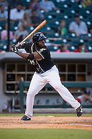 Chris Jacobs (45) of the Charlotte Knights at bat against the Gwinnett Braves at BB&T BallPark on August 11, 2015 in Charlotte, North Carolina.  The Knights defeated the Braves 3-2.  (Brian Westerholt/Four Seam Images)