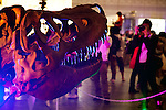 """A man takes a picture of a dinosaur skeleton during the Niconico Douga fan event at Makuhari Messe International Exhibition Hall on April 25, 2015, Chiba, Japan. The event includes special attractions such as J-pop concerts, Sumo and Pro Wrestling matches, cosplay and manga and various robot performances and is broadcast live on via the video-sharing site. Niconico Douga (in English """"Smiley, Smiley Video"""") is one of Japan's biggest video community sites where users can upload, view, share videos and write comments directly in real time, creating a sense of a shared watching. According to the organizers more than 200,000 viewers for two days will see the event by internet. The popular event is held in all 11 halls of the huge Makuhari Messe exhibition center from April 25 to 26. (Photo by Rodrigo Reyes Marin/AFLO)"""