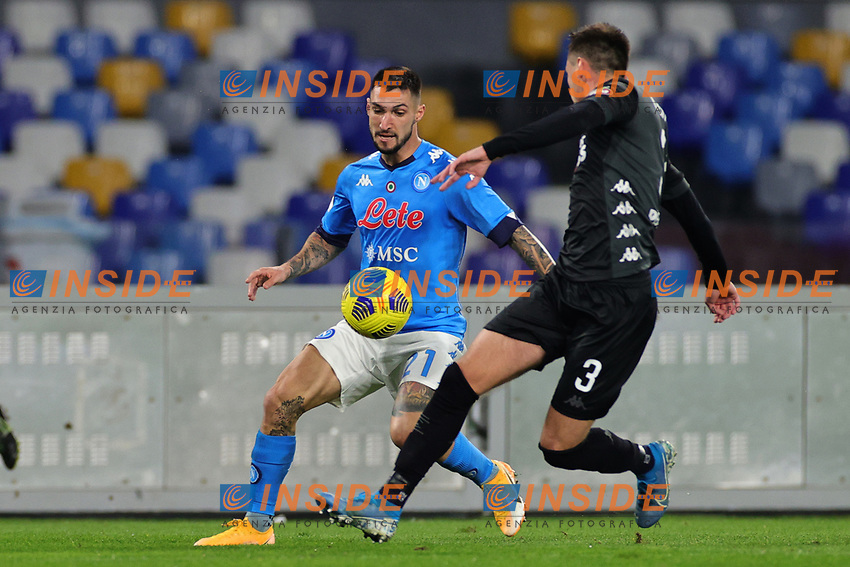 Matteo Politano of SSC Napoli and Aleka Terzic of Empoli FC compete for the ball during the Italy Cup football match between SSC Napoli and Empoli FC at stadio Diego Armando Maradona in Napoli (Italy), January 13, 2021. <br /> Photo Cesare Purini / Insidefoto