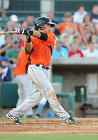 Outfielder Jeremy Nowak (11) of the Frederick Keys in a game against the Myrtle Beach Pelicans on August 4, 2012, at TicketReturn.Com Field in Myrtle Beach, South Carolina. Myrtle Beach won, 4-3. (Tom Priddy/Four Seam Images)