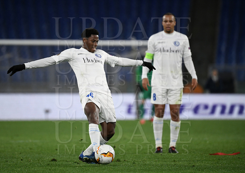 Football Soccer: UEFA Europa League round of 32 first leg AS Roma vs KAA Gent, Olympic stadium, Rome, 20 February, 2020.<br /> Gent's Jonathan David in action during the Europa League football match between Roma and Gent at the Olympic stadium in Rome on 20 February, 2020.<br /> UPDATE IMAGES PRESS/Isabella Bonotto