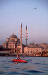 Turkey, Sea Kayaking, Istanbul, Golden Horn, Galata Bridge, woman, sunrise paddle,