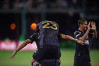 LAKE BUENA VISTA, FL - JULY 20: IIsinho #25 and Kacper Przybylko #23 of the Philadelphia Union celebrate a goal during a game between Orlando City SC and Philadelphia Union at Wide World of Sports on July 20, 2020 in Lake Buena Vista, Florida.