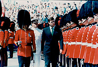 1989 FILE PHOTO - ARCHIVES -<br /> <br /> Prince Andrew inspects a Guard of Honor provided by the Second Battalion of the Royal 22nd Regiment; at the Old Port of Quebec.