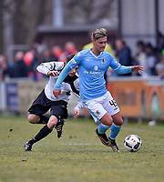 27.01.2018, Football Regionalliga Bayern 2017/2018, pre season friendly,  SC Fuerstenfeldbruck - TSV 1860 Muenchen TechnoMarkt-stadium Fuerstenfeldbruck,  Matthias Streun (Fuerstenfeldbruck)  -  Marvin Zimmermann (1860 Muenchen). *** Local Caption *** © pixathlon<br /> <br /> +++ NED + SUI out !!! +++<br /> Contact: +49-40-22 63 02 60 , info@pixathlon.de<br /> Contact: +49-40-22 63 02 60 , info@pixathlon.de