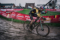 Wout van Aert (BEL/Jumbo-Visma) racing the UCI cyclo-cross World Cup in Dendermonde on september 27, 2020 in Belgium.<br /> <br /> ©kramon
