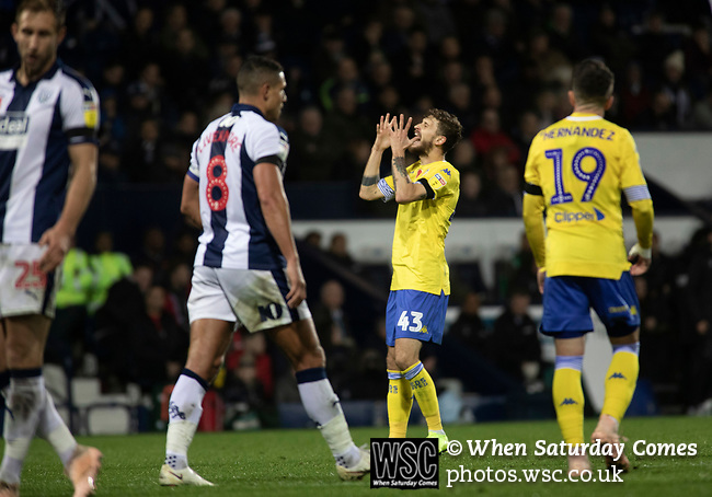 Visiting midfielder Mat Klich showing his disappointment as a shot goes wide during the second-half as West Bromwich Albion take on Leeds United in a SkyBet Championship fixture at the Hawthorns. Formed in 1878, the home team were relegated from the English Premier League the previous season and were aiming to close the gap on the visitors at the top of the table. Albion won the match 4-1 watched by a near-capacity crowd of 25,661.