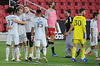 WASHINGTON, DC - AUGUST 25: New England Revolution celebrating the victory during a game between New England Revolution and D.C. United at Audi Field on August 25, 2020 in Washington, DC.