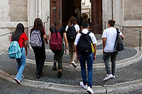 Students entering the school on their first day at Visconti Lyceum. In Italy most of the schools reopened today for the school year beginning. <br /> Rome (Italy), September 13th 2021<br /> Photo Samantha Zucchi Insidefoto