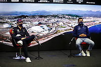 23rd September 2021; Sochi, Russia;   F1 Grand Prix of Russia 33 Max Verstappen NED, Red Bull Racing, 63 George Russell GBR, Williams Racing, F1 Grand Prix of Russia at Sochi Autodrom   driver press conference