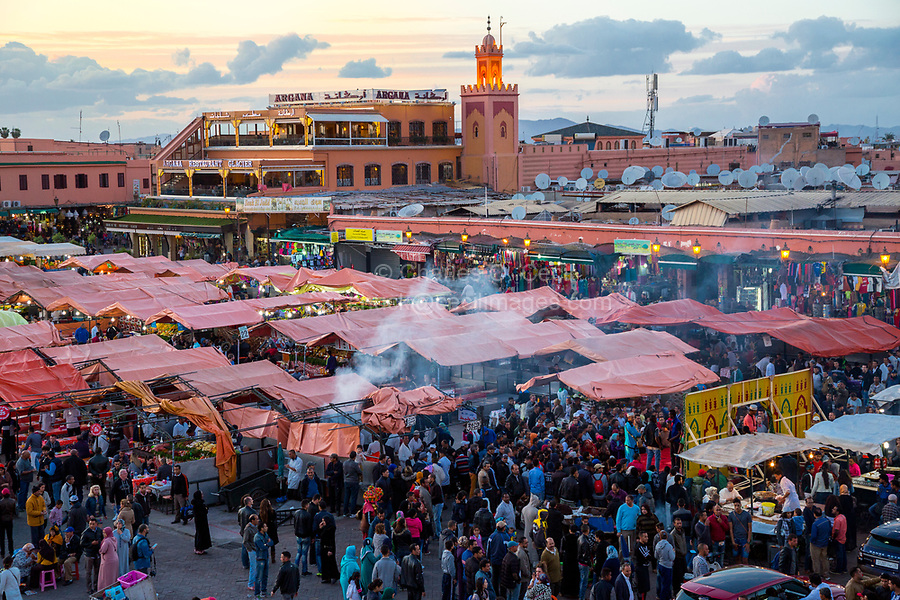 Marrakesh, Morocco.  Food Stalls and Crowds in the Place Jemaa El-Fna.