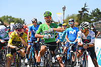 5th September 2020, Grand Colombier, France;  YATES Adam (GBR) of MITCHELTON - SCOTT, SAGAN Peter (SVK) of BORA - HANSGROHE and BERNAL GOMEZ Egan Arley (COL) of TEAM INEOS during stage 8 of the 107th edition of the 2020 Tour de France cycling race, a stage of 140 kms with start in Cazeres-sur-Garonne and finish in Loudenvielle
