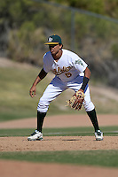 Oakland Athletics shortstop Yairo Munoz (5) during an Instructional League game against the Chicago Cubs on October 16, 2013 at Papago Park Baseball Complex in Phoenix, Arizona.  (Mike Janes/Four Seam Images)