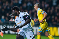 Swansea, UK. Thursday 20 February 2014<br /> Pictured: Wilfried Bony turns his head in frustration after missing a header <br /> Re: UEFA Europa League, Swansea City FC v SSC Napoli at the Liberty Stadium, south Wales, UK