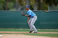 Tampa Bay Rays Kaleo Johnson (83) waits for a throw during a Minor League Spring Training game against the Baltimore Orioles on March 16, 2019 at the Buck O'Neil Baseball Complex in Sarasota, Florida.  (Mike Janes/Four Seam Images)
