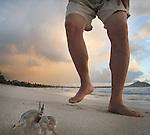 A man runs for a crab along Kailua Beach in Honolulu, Hawaii.