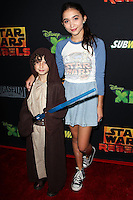 """CENTURY CITY, CA, USA - SEPTEMBER 27: August Maturo, Rowan Blanchard arrive at the Los Angeles Screening Of Disney XD's """"Star Wars Rebels: Spark Of Rebellion"""" held at the AMC Century City 15 Theatre on September 27, 2014 in Century City, California, United States. (Photo by Celebrity Monitor)"""