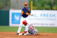 Houston Astros second baseman Jose Altuve #27 attempts to turn a double play as Daniel Descalso #33 slides in during a Spring Training game against the St. Louis Cardinals at Osceola County Stadium on March 1, 2013 in Kissimmee, Florida.  The game ended in a tie at 8-8.  (Mike Janes/Four Seam Images)