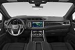 Stock photo of straight dashboard view of 2021 GMC Yukon-XL Denali 5 Door SUV Dashboard
