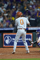 Trey Faltine (0) of the Texas Longhorns at bat against the LSU Tigers in game three of the 2020 Shriners Hospitals for Children College Classic at Minute Maid Park on February 28, 2020 in Houston, Texas. The Tigers defeated the Longhorns 4-3. (Brian Westerholt/Four Seam Images)