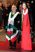 """La stilista Laura Biagiotti e la figlia Lavinia, a destra, arrivano al Teatro dell'Opera di Roma, 17 marzo 2011, per la rappresentazione del Nabucco, in occasione delle celebrazioni per il 150esimo anniversario dell'Unita' d'Italia..Italian fashion designer Laura Biagiotti and her wife Lavinia, right, arrive at Rome's Opera Theater, 17 march 2011, for the representation of Verdi's Opera """"Nabucco"""", in occasion of the celebrations marking the 150th anniversary of the Italian Union..UPDATE IMAGES PRESS/Riccardo De Luca"""