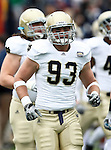 Notre Dame Fighting Irish defensive end Bruce Heggie (93) gets ready to play during the 2010 Hyundai Sun Bowl football game between the Notre Dame Fighting Irish and the Miami Hurricanes at the Sun Bowl Stadium in El Paso, Tx. Notre Dame defeats Miami 33 to 17...