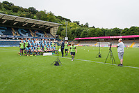 Setting up during the Wycombe Wanderers 2016/17 Team & Individual Squad Photos at Adams Park, High Wycombe, England on 1 August 2016. Photo by Claudia Nako.