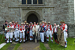 East Kent Morris Me group photograph outside the church of St Peter and St Paul Charing Kent UK. Spring Bank Holiday Monday. Rev Shelia Cox.