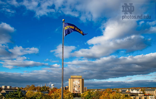 October 30, 2020; Pennant on the south end of Notre Dame Stadium with Word of Life Mural in the background (Photo by Matt Cashore/University of Notre Dame)