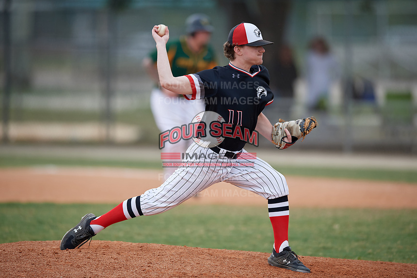 Edgewood Eagles relief pitcher Connor Schatzberg (11) during a game against the South Vermont Mountaineers on March 18, 2019 at Lee County Player Development Complex in Fort Myers, Florida.  South Vermont defeated Edgewood 19-6.  (Mike Janes/Four Seam Images)