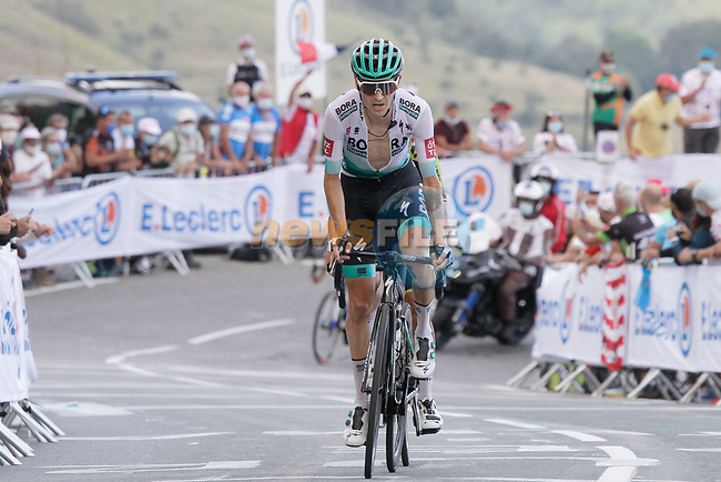 Emanuel Buchmann (Ger) Bora-Hansgrohe summits the Col de Peyresourde during Stage 8 of Tour de France 2020, running 141km from Cazeres-sur-Garonne to Loudenvielle, France. 5th September 2020. <br /> Picture: Colin Flockton | Cyclefile<br /> All photos usage must carry mandatory copyright credit (© Cyclefile | Colin Flockton)