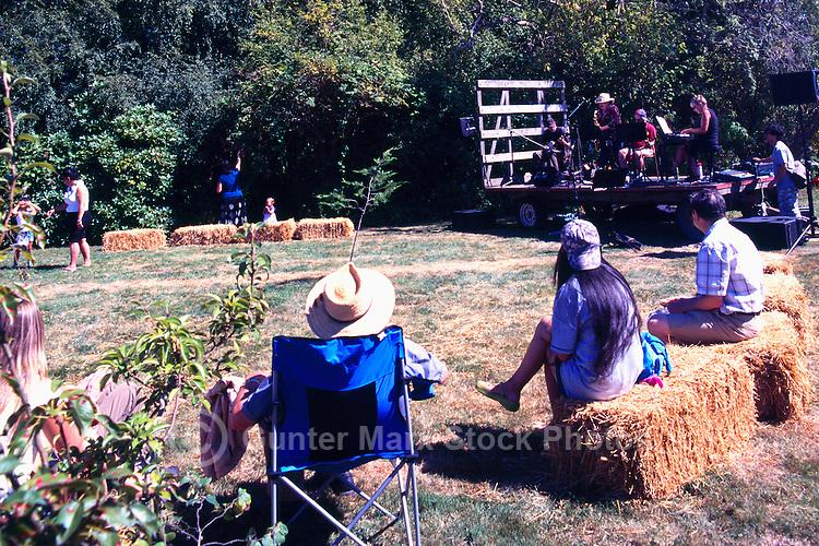 5th Annual Garlic Festival, August 2013 (hosted by The Sharing Farm) at Terra Nova Rural Park, Richmond, BC, British Columbia, Canada - Garlic Lovers listen to Live Music