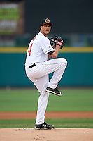 Rochester Red Wings pitcher Taylor Rogers (24) delivers a warmup pitch during a game against the Toledo Mudhens on May 12, 2015 at Frontier Field in Rochester, New York.  Toledo defeated Rochester 8-0.  (Mike Janes/Four Seam Images)