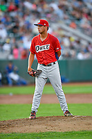 Bo Tucker (17) of the Orem Owlz prepares to delivers a pitch to the plate against the Ogden Raptors in Pioneer League action at Lindquist Field on July 29, 2016 in Ogden, Utah. Orem defeated Ogden 8-5. (Stephen Smith/Four Seam Images)