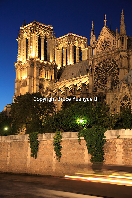 The night view of Notre-Dame cathedral with River Seine in foreground. Paris. France