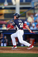 Reading Fightin Phils first baseman Brock Stassi (28) at bat during a game against the New Britain Rock Cats on August 7, 2015 at FirstEnergy Stadium in Reading, Pennsylvania.  Reading defeated New Britain 4-3 in ten innings.  (Mike Janes/Four Seam Images)