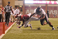 NWA Democrat-Gazette/MICHAEL WOODS • @NWAMICHAELW<br /> University of Arkansas running back Rawleigh Williams III gets knocked out of bounds by Texas Tech defender Dakota Allen in the 3rd quarter of Saturday nights game against the Razorbacks at Razorback Stadium in Fayetteville.
