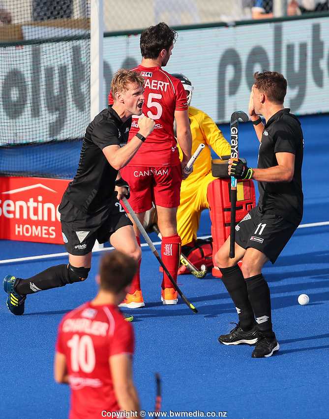 Blair Tarrant scores during the Pro League Hockey match between the Blacksticks men and Belgium, National Hockey Arena, Auckland, New Zealand, Sunday 2 February 2020. Photo: Simon Watts/www.bwmedia.co.nz